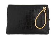 Lanvin Bag in Black Croc and Snake Chain, a Quiz: is this an Ipad case, a clutch or a make-up bag?