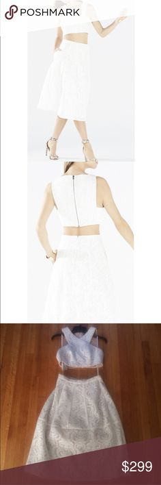NWT BCBG MAXAZARIA Ellyson 2 piece dress White lace two piece dress. New with tags's. Lined. Skirt has pockets. Top measures, 16 inches and bust, 13.5 inches length. Skirt measures 13.5 inches waist, 27 inches long. BCBGMaxAzria Dresses