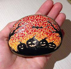 Halloween Painted Stone pumpkin spooky by CreateAndCherish