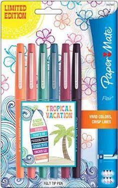 Paper Mate Flair Felt Tip Pens 6/Pkg-Tropical Vacation