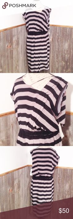 """Leifsdottir for Anthropologie Dress.  NWT Beautiful dress, new with tag.  Black and silvery grey stripes.  Very unique with pleats diagonally down front and back, hidden pockets!  Elastic waistband, off centered neckline and one cap sleeve, other side sleeveless.  Fully lined.  Underarm to underarm is approx 22"""" flat across front more of a blouson style.  Waist is approx 16"""" flat across front and in-stretched.  Length is approx 40.5"""".  Smoke and pet free home. Anthropologie Dresses"""