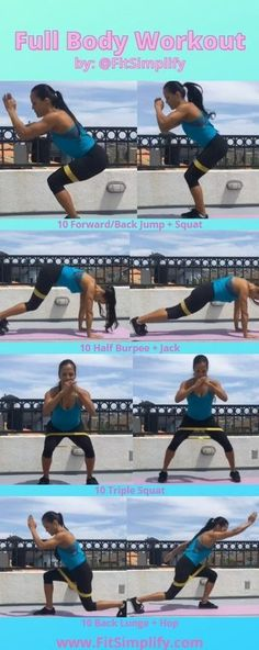 Start your day with this Full Body workout using Fit simplify resistance bands. Do 10 reps per exercise. Exercises: 10 Forward/Back Jump + Squat 10 Half Burpee + Jack 10 Triple Squat 10 Back Lunge + Hop Resistance Band Training, Resistance Loop Bands, Resistance Band Exercises, Workout Guide, Workout Gear, Band Workouts, Home Exercise Routines, Workout Routines, Jump Squats