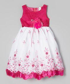 Another great find on #zulily! Fuchsia & White Floral Embroidered Dress - Toddler & Girls by ClassyKidzShop #zulilyfinds
