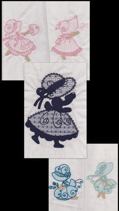 5  Lace Sunbonnet Sue embroidered fabric  by RockyMountainstitch, $10.00
