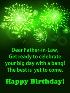 Big Bursts Of Fireworks In Bright Green Set An Unforgettable Scene Bringing A Bold Festive Touch To This Birthday Greeting CardsHappy