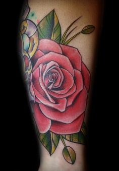 Traditional Rose Tattoo...looking at traditional style roses for my painting the roses Red piece