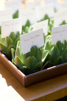 "Previous pinner: ""wedding idea: 1 card/artichoke with 6 names per table.""  wait....an artichoke? why? someone please explain this to me!"