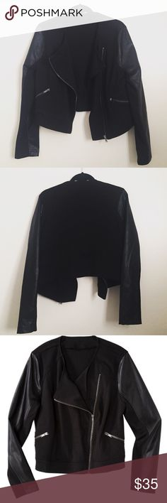 """Cropped Faux Leather Sleeve Blazer Faux leather sleeves with rayon body. Cropped style - neck to hem 19"""". Two functional front pockets & main zip closure. Perfect used condition! ASOS Curve Tops"""