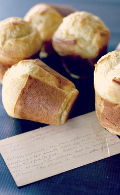 Tony and the kiddos favorite! This vintage popovers recipe from a recipe box is the best popover recipe I have ever made. They're simple to make and turn out every time! Retro Recipes, Vintage Recipes, Great Recipes, Favorite Recipes, Victorian Recipes, Profiteroles, Croissants, Appetizer Recipes, Sweets