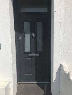 Dark Blue Hallway, Dark Grey Front Door, Grey Composite Front Door, Grey Doors, Victorian Front Doors, Traditional Doors, Front Entrances, House Front, House Ideas