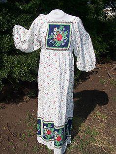 Vtg Cotton 70s Hippie Maxi Dress Boho Festival Floral Prairie Caftan Peasant | eBay