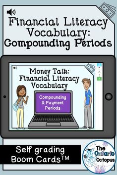 Financial literacy is challenging for many students.  Practice compounding and payment periods with these self-grading Boom Cards TM.  Your students get immediate feedback and you get great data for assessment and evaluation. School Resources, Teacher Resources, Life Skills Class, Drama Education, Ontario Curriculum, Art Education Projects, Drama Games, Secondary Math, Financial Literacy