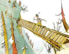 Schellenursli by Alois Carigiet Illustrator, Book Illustration, Cute Pictures, Mountains, Books, Vintage, Recherche Google, Grandchildren, Bridges