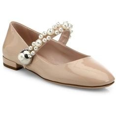 Miu Miu Pearl Bead Trim Patent Leather Mary Jane Flats ($795) ❤ liked on Polyvore featuring shoes, flats, apparel & accessories, mary jane flat shoes, mary jane shoes, t-strap mary janes, mary-jane shoes and strappy flats