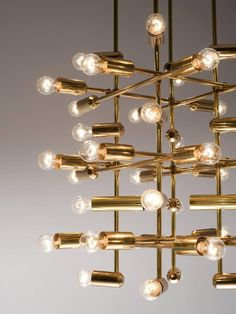 Set of 21 Large Brass Chandeliers with Forty Bulbs 5