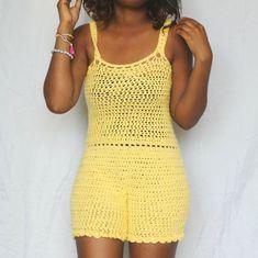 Crochet Patterns Pants The Summer Love Crochet Romper Pattern by DreamCrochetShoppe Crochet Pants, Crochet Romper, Crochet Clothes, Crochet Dresses, Crochet Woman, Love Crochet, Crochet Top, Crochet Things, Romper Pattern