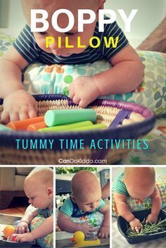 Tons of Boppy Pillow Tummy Time activities for baby play. Great tips from a pediatric Occupational Therapist and mom - reduce risks of Flat Head Syndrome (Plagiocephaly) and promote development and baby milestones. CanDoKiddo.com
