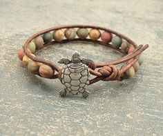 Rustic Turtle Jewelry Semi Precious Red Creek Jasper Beaded Leather Bracelet Colorful Turtle Bracelet