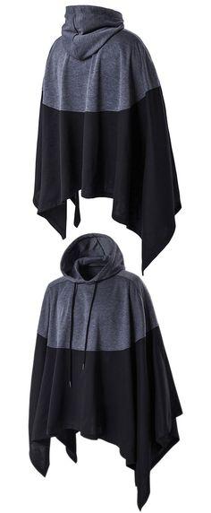 Hooded Color Block Splicing Cloak Style Irregular Cutting Hoodie