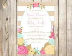 Floral Bridal or Baby Shower Invitation by EmmyJosParties on Etsy
