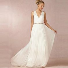 Find More Wedding Dresses Information about  2016 Backless V Neck country western Wedding Dresses Boho Beach A Line Greek Style Sleeveless vestido de noiva princesa,High Quality dress materal,China wedding feather Suppliers, Cheap dress wedding reception from Hello May Dresses Custom Made on Aliexpress.com