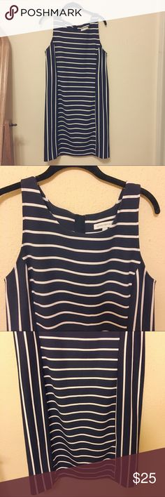 """Banana Republic (14) Navy Blue/White Striped Dress Size 14, Banana Republic. It screams summers on the Cape, in the Hamptons, on a yacht, at a horse race! I do none of these things. Maybe you do?! Either way it's a chic """"go to"""" for brunches, baby showers, theatre outings, and long hrs in the office when u should be at the beach. The tag that lists material was scratchy so I cut it out (sorry!) but it has some cotton and  a bit of stretch. I have MS and am often on steroids- hence my closet…"""