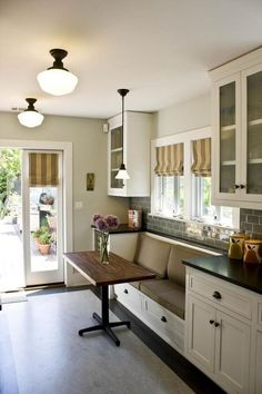 French Doors at end of Galley Kitchen Banquette seating for Galley Kitchen Dining Room Small, Galley Kitchen Remodel, Kitchen Dining Room, Kitchen Benches, Kitchen Seating, Home Kitchens, Kitchen Layout, Kitchen Renovation, Kitchen Design