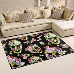 Fl Sugar Skull Day Of The Dead Trendy Area Rug With N Https