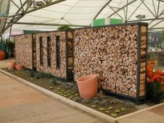 You want to build a outdoor firewood rack? Here is a some firewood storage and creative firewood rack ideas for outdoors. Outdoor Firewood Rack, Firewood Storage, Modern Fence Design, Gabion Wall, Wood Store, Wood Shed, Garden Inspiration, Landscape Design, Outdoor Gardens