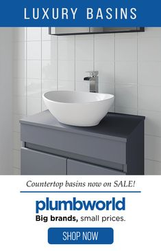 Shop the range of luxury countertop basins at Plumbworld. We have a range of gorgeous designs, from round bowls to square-cut shapes, alongside other ultra-modern designs that will all act as a talking point whenever guests use your bathroom. Bathroom Sink Units, Small Bathroom Vanities, Bathroom Storage Shelves, Diy Kitchen Storage, Laundry In Bathroom, Bathroom Layout, Bathroom Cabinetry, Family Bathroom, Bathrooms