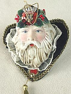Vintage Porcelain Santa Head Christmas Ornament. Click on the image for more information.