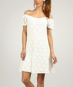 Another great find on #zulily! Ecru Embroidered Off-Shoulder Dress by Peace and Love #zulilyfinds
