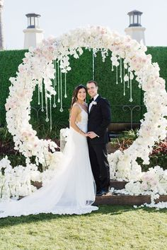 Romantic white flower circular wedding ceremony chuppah; Featured Event Design: Blush Botanicals