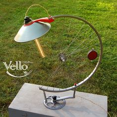 Steampunk Bike Lamp made with recycled bicycle wheel, bike parts and a vintage lampshade, it will look harmonically in any interior, apartment, office, bar.