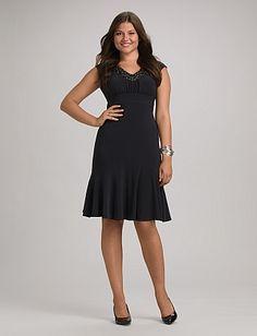 Misses | Dresses | Empire Waist Dresses | Beaded Neckline Dress