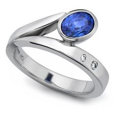 Flick ring in polished platinum with blue sapphire and diamonds designed by Andrew Leggett at Aurum Jewellers, West Sussex. Designer Engagement Rings, Engagement Ring Settings, Titanic Jewelry, Rings N Things, Diamond Design, Contemporary Jewellery, Ring Designs, Blue Sapphire, Jewelery