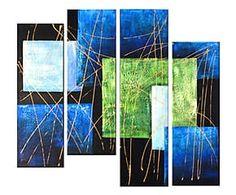 Composizione di 4 dipinti a mano su tela Buio e luce - max 30x110 cm