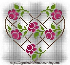 New Embroidery Rose Pattern Design Cross Stitch Ideas Cross Stitch Boards, Cross Stitch Heart, Cross Stitch Flowers, Embroidery Hearts, Cross Stitch Embroidery, Cross Stitch Designs, Cross Stitch Patterns, Broderie Bargello, Loom Patterns