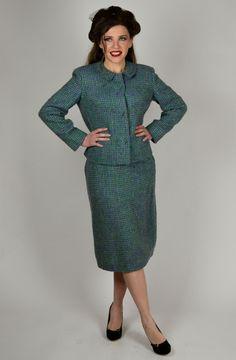 Women's Vintage Suit, Wool Suit, Turquoise Suit, Purple Suit, Pencil Skirt, Coordinating Set, 50's Suit, 1950's Women's Suit by BuffaloGalVintage on Etsy