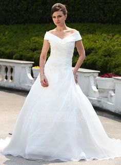 [US$ 182.99] Ball-Gown Off-the-Shoulder Court Train Organza Wedding Dress With Ruffle Beading (002000599)