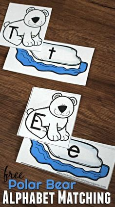 FREE Polar Bear Alphabet Matching - this free printable literacy activity is perfect for helping preschool and kindergarten age kids practice matching uppercase and lowercase letters Bears Preschool, Preschool Literacy, Kindergarten Activities, Kindergarten Literacy, Preschool Winter, Winter Activities, Montessori, Artic Animals, Wild Animals