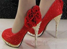 Sparkle Rhinestone with Red Flowers Bridal Shoes