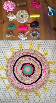 Amazing DIY woven rug tutorial | a mini could make a cool placemat