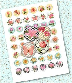 Digital Collage Sheet FLORAL CIRCLE 1 INCH by DigitalStories, €2.60