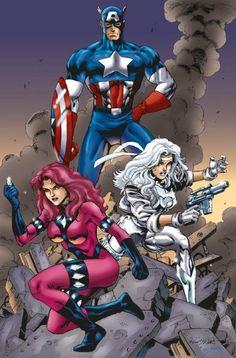Captain America, Diamondback and Silver Sable, in the April 2007: A Salute to Captain America Comic Art Sketchbook