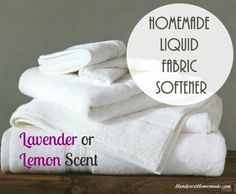 A homemade liquid fabric softener is a better option than using a store bought product. Your laundry may just thank you as it is free of harmful chemicals.