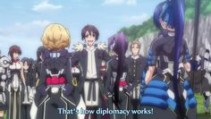 """""""If they say something you don't like, just cough to slide right past it.. that's how diplomacy works."""" - Aoi Toori"""