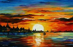 SUNRISE IN THE HARBOR- AFREMOV by Leonidafremov.deviantart.com on @deviantART