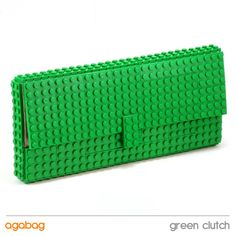Green clutch made entirely of LEGO bricks by agabag on Etsy, $120.00
