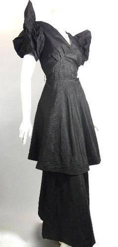 1930s black taffeta evening gown with dramatic butterfly sleeves